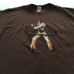 2000s Elvis Presley Tee Graphic T Shirt Brown 2XL
